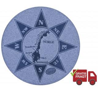 Kompasrose Norge Ø60cm Grå-20
